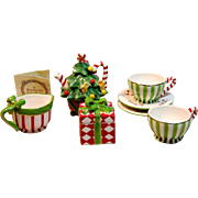 Waterford Holiday Heirlooms Christmas Mini Ceramic Tea Set With Box & Paper