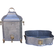 Spectacular Wall Mounted Metal Lavabo Set with Brass Accents