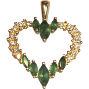 Sensational Natural Emerald & Diamond Heart Pendant in Solid 14K Yellow Gold