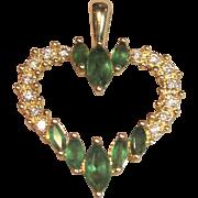 Sensational Natural Emerald & Diamond Heart Pendant in Solid 14K Yellow Gold