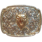 Vintage South Western Belt Buckle with Buffalo in Solid Sterling Silver & 14K Rose Gold