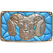 Spectacular Vintage Native American Ram Belt Buckle With Turquoise