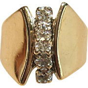 Dazzling Vintage Waterfall Diamond Ring in solid 14K Yellow Gold