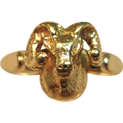 Charming 3D Ram Ring in 14K Solid Yellow Gold