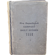 Large & Heavy Vintage Baltimore City E-8 Fire Department Company Daily Record 1958 with Extras