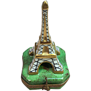 Rare Eiffel Tower Trinket box by Limoges France Marque Deposee Peint Main
