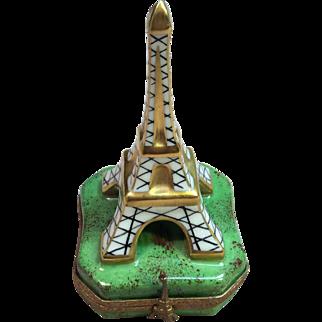 Rare Eiffel Tower Trinket box by Limoges France Marque Deposee Peint Main