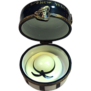 Rare Hat Box with Hat Trinket Box by Limoges France, Peint Main