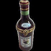 Rare Wine BOTTLETrinket box by Limoges France Marque Deposee Peint Main