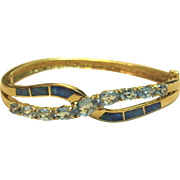 Remarkable Hinged Bangle Bracelet with Blue Topaz & Opal Solid 14K Yellow Gold