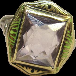 Art Deco Enamel Filigree Ring 14K Gold