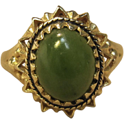 Vintage Jade Ring in 10K Yellow Gold