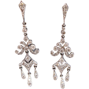 Diamond Pavé Chandelier Drop Earrings, 18K White Gold