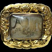 Antique Georgian Sepia Mourning Hair Art Memento Portrait Of A Room & Child Circa 1835