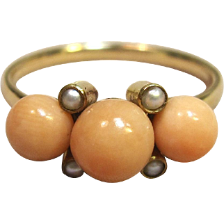Fabulous Vintage Angel Skin Coral with Seed Pearls in Solid 14K Yellow Gold Circa 1930's