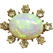 Large Antique Opal & Old Mine Diamond Pin/Brooch in 14K Yellow Gold