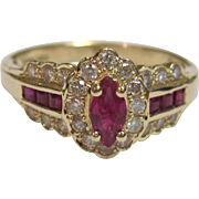 Beautiful Ruby Ring with Diamonds in 14K Yellow Gold