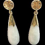 Jade Drop Earrings Happiness in 14K Yellow Gold