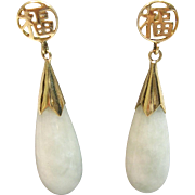 Jade Drop Earrings Happiness in 14K Yellow Gold