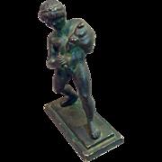 Antique Cast Bronze Figure Satyr With Pig Skin Wine Bag