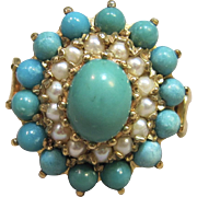 Vintage London Persian Turquoise Ring in 9K Yellow Gold Circa 1971