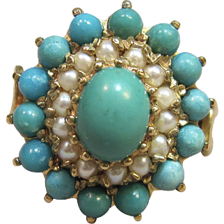Vintage London Persian Turquoise Ring in 9K Yellow Gold Circa 1971