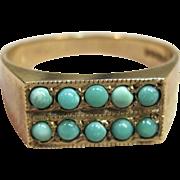 Vintage Birmingham Persian Turquoise Ring in 9K Yellow Gold Circa 1968-1969