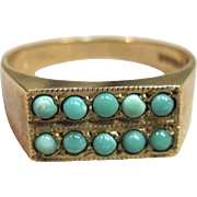 Vintage Birmingham Persian Turquoise Ring in 9K Yellow Gold Circa 1968-1969