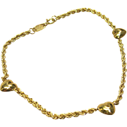 Fabulous Triple Heart Bracelet in Solid 14K Yellow Gold