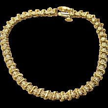 Diamond S Link Tennis Bracelet in Solid 10K Yellow Gold