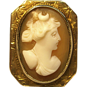 Antique Goddess Artemis/Diana Cameo Ring in 10K Yellow Gold Circa 1800's