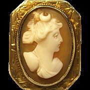 Antique Goddess Artemis/Diana Cameo Ring in 10K Yellow Gold Circa 1800's
