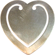 Lovely Vintage Sterling & Silver Heart Bookmark by Reed & Barton