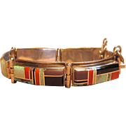 Incredible Vintage S. Smith Navajo Inlay Sterling Silver Bracelet