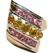 Superb Natural Pink & Yellow Sapphire Ring in 14K White Gold