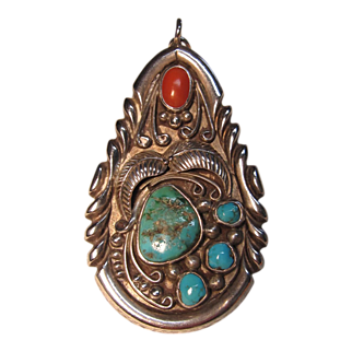 Exceptional Native American Pendant with Coral & Turquoise