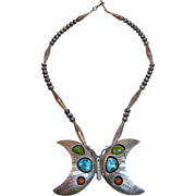 "Signed ""Charles Supplee"" Hopi Vintage Necklace with Large Butterfly Pendant Set in Sterling Silver"
