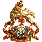 Rare Vintage Jeweled Crown Brooch with Lion by Blythe & Blythe