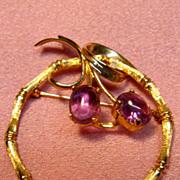 Vintage 14K Yellow Gold Amethyst Brooch
