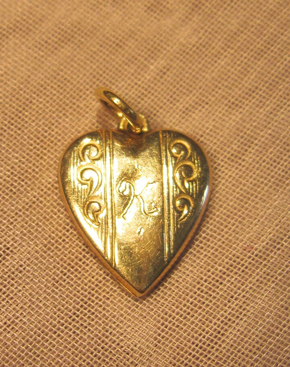 Vintage Heart Pendant or Charm in 10K Yellow Gold