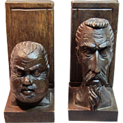 Vintage Bookends Don Quixote & Sancho Panza Sculptures Carved Wood