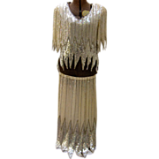 Vintage Beaded & Sequence Silk Flapper Design 2 Piece Dress