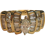Make A Statement with this Vintage Engagement Diamond Ring in 14K Yellow Gold