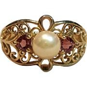 Crafted to Perfection Filigree Pearl Ring With Pink Tourmalines set in 14K Yellow Gold