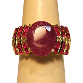 Gorgeous Vintage Purple Sapphire with Rubies & Diamond Ring  in 10K Gold