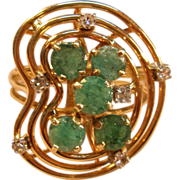 Unique 14K Yellow Gold Swirl Ring with Emeralds and Diamonds