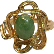 Sensational Custom Made Jade Ring in 14K Yellow Gold