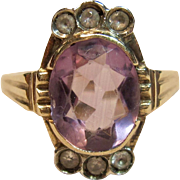 Victorian Style Amethyst Ring with Accents in 10K Yellow Gold