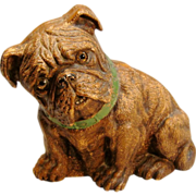 Rare Vintage Brown SyrocoWood Bulldog Doorstop with Glass Eyes Circa 1930's-1950's