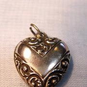 Dainty Sterling Puffy Heart Charm/Pendant